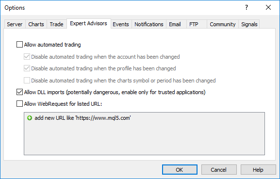 "The option ""Allow import DLL"" in mql5-programs"
