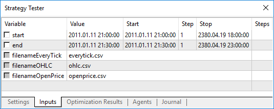 We can specify the starting and the ending dates of the ticks (the variables start and end) for the WriteTicksFromTester Expert Advisor